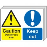 Multi pack safety signs & labels -  450 x 600 mm caution dangerous site keep out self adhesive vinyl labels 6 pack