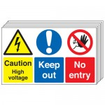 Multi pack safety signs & labels -  300 x 500 mm caution high voltage keep out self adhesive vinyl labels 6 pack.