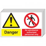 Multi pack safety signs & labels -  300 x 500 mm danger no admittance authorised self adhesive vinyl labels 6 pack.