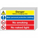 Multi pack safety signs & labels -  300 x 500 mm danger battery charging area self adhesive vinyl labels 6 pack.