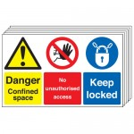 Multi pack safety signs & labels -  300 x 500 mm danger confined space no self adhesive vinyl labels 6 pack.
