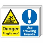 Multi pack fragile roof labels & labels -  450 x 600 mm danger fragile roof use crawling self adhesive vinyl labels 6 pack