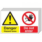 Multi pack safety signs & labels -  300 x 500 mm danger hazard area do not enter self adhesive vinyl labels 6 pack.