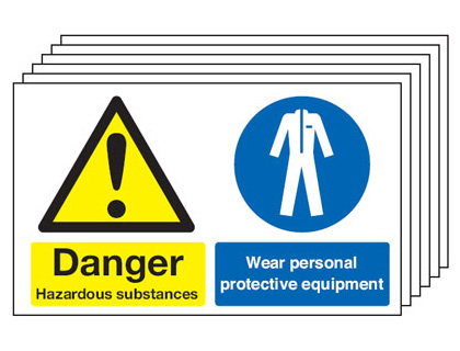 Multi pack safety signs & labels -  300 x 500 mm danger hazardous substances self adhesive vinyl labels 6 pack.