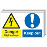 Multi pack safety signs & labels -  300 x 500 mm danger high voltage keep out self adhesive vinyl labels 6 pack.