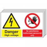 Multi pack safety signs & labels -  300 x 500 mm danger high voltage no self adhesive vinyl labels 6 pack.