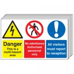 Multi pack safety signs & labels -  300 x 500 mm danger this is a multi-hazard self adhesive vinyl labels 6 pack.