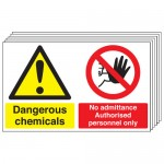 Multi pack safety signs & labels -  300 x 500 mm dangerous chemicals no self adhesive vinyl labels 6 pack.