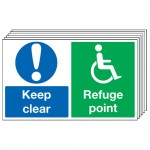 Multi pack safety signs & labels -  300 x 500 mm keep clear refuge point self adhesive vinyl labels 6 pack.
