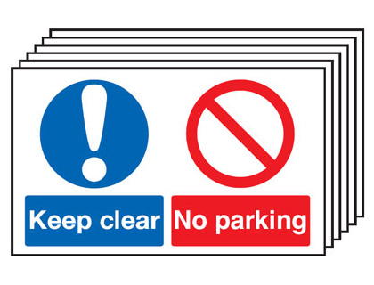 Multi pack safety signs & labels -  300 x 500 mm keep clear no parking self adhesive vinyl labels 6 pack.