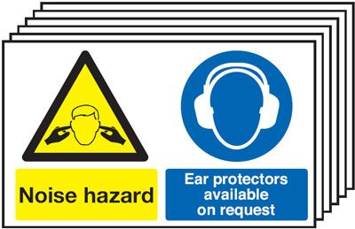 Multi pack safety signs & labels -  300 x 500 mm noise hazard ear protectors 1.2 mm rigid plastic signs with self adhesive backing labels 6 pack.