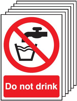 Multi pack safety signs & labels -  A5 do not drink self adhesive vinyl labels 6 pack.