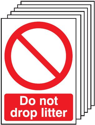 Multi pack safety signs & labels -  A5 do not drop litter self adhesive vinyl labels 6 pack.