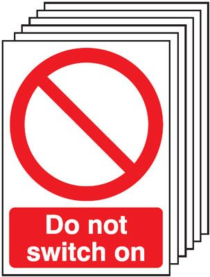 Multi pack safety signs & labels -  A4 do not switch on 1.2 mm rigid plastic signs with self adhesive backing labels 6 pack.