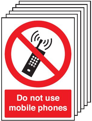Multi pack safety signs & labels -  A5 do not use mobile phones self adhesive vinyl labels 6 pack.