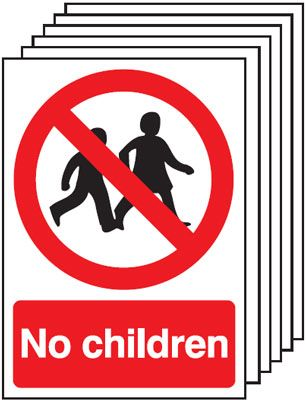 Multi pack safety signs & labels -  A5 no children self adhesive vinyl labels 6 pack.