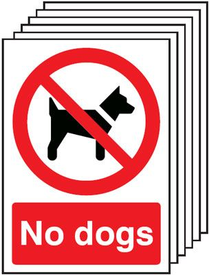Multi pack safety signs & labels -  A5 no dogs self adhesive vinyl labels 6 pack.