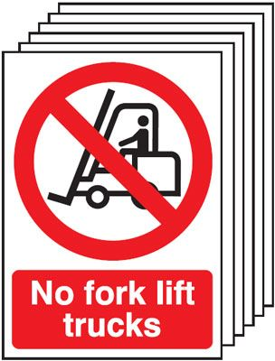 Multi pack fork lift  labels -  A5 no fork lift trucks self adhesive vinyl labels 6 pack.
