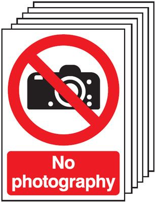 Multi pack safety signs & labels -  A5 no photography self adhesive vinyl labels 6 pack.