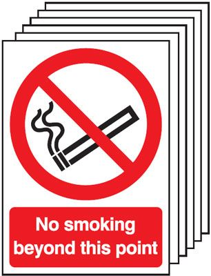 Multi pack safety signs & labels -  A5 no smoking beyond this point self adhesive vinyl labels 6 pack.