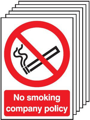 Multi pack safety signs & labels -  A5 no smoking company policy self adhesive vinyl labels 6 pack.