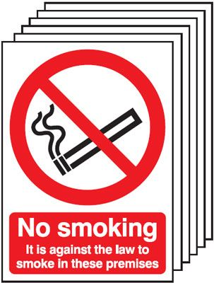 Multi pack safety signs & labels -  A5 no smoking it is against the law to self adhesive vinyl labels 6 pack.
