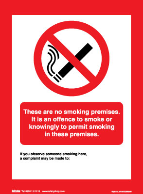 327 x 240 mm these are no smoking premises sign