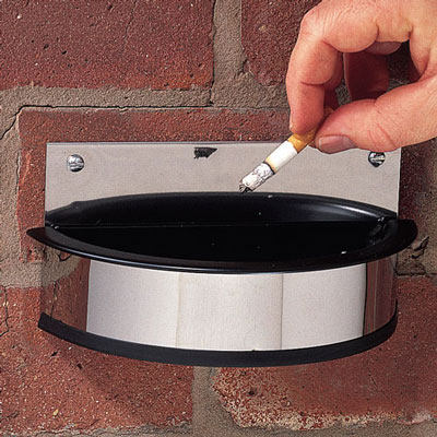Wall mounted cigarette ashtray with replacement plastic insert.