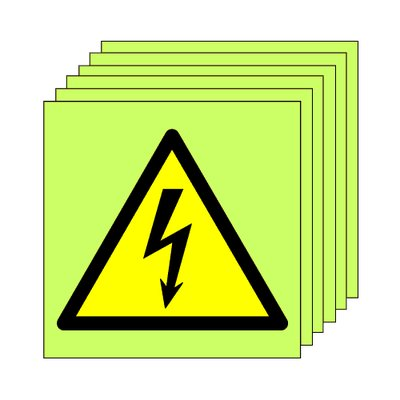 Pack of 20 photoluminescent 50 x 50 mm electrical symbol sign.
