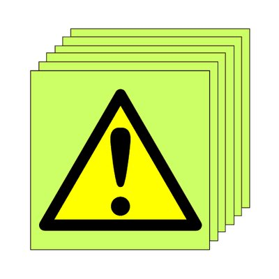 Pack of 20 photoluminescent 50 x 50 mm warning symbol sign.