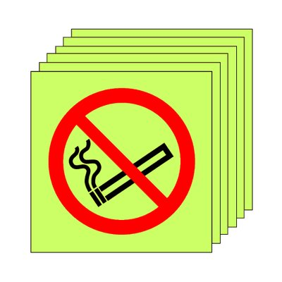 Pack of 20 photoluminescent 50 x 50 mm no smoking symbol sign.