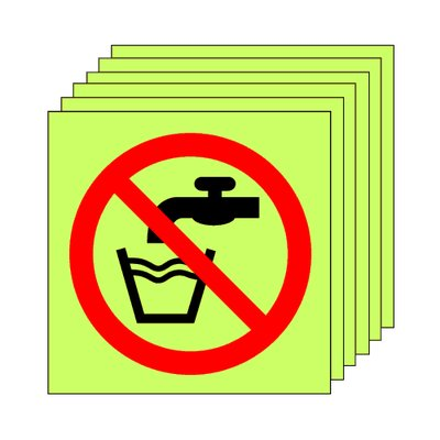 Pack of 20 photoluminescent 50 x 50 mm don't drink symbol sign.