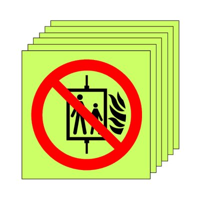 Pack of 20 photoluminescent 50 x 50 mm don't use lift symbol sign.