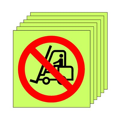Pack of 20 photoluminescent 50 x 50 mm no fork lift symbol sign.