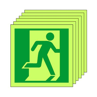 Pack of 20 photoluminescent 50 x 50 mm running man (right) symbol sign.