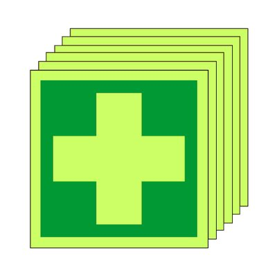 Pack of 20 photoluminescent 50 x 50 mm first aid symbol sign.