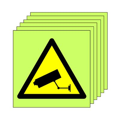 Pack of 20 photoluminescent 50 x 50 mm cctv symbol sign.