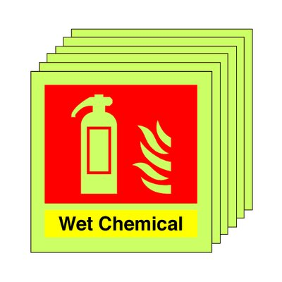 pack of 20 photoluminescent 100 x 100 mm wet chemical extinguisher