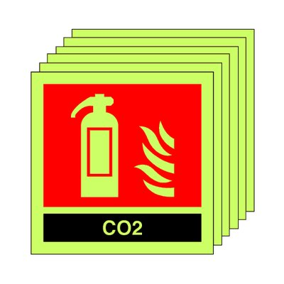 pack of 20 photoluminescent 100 x 100 mm co2 extinguisher