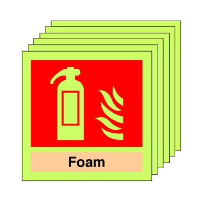 pack of 20 photoluminescent 100 x 100 mm foam extinguisher