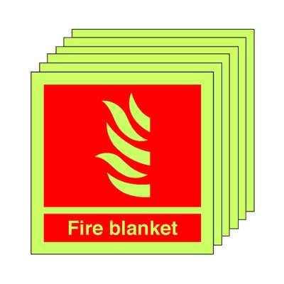 Pack of 20 photoluminescent 100 x 100 mm fire blanket symbol sign.