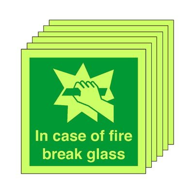 Pack of 20 photoluminescent 50 x 50 mm in case of fire break glass symbol sign.