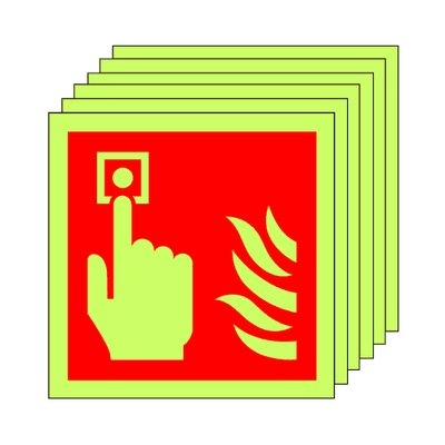 Pack of 20 photoluminescent 100 x 100 mm fire alarm call point symbol sign.