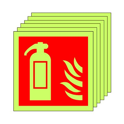 Pack of 20 photoluminescent 100 x 100 mm fire extinguisher symbol sign.