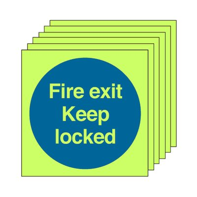 Pack of 20 photoluminescent 50 x 50 mm fire door keep locked symbol sign.