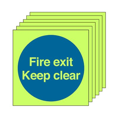 Pack of 20 photoluminescent 50 x 50 mm fire exit keep clear symbol sign.
