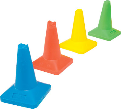 Traffic cones - 450 mm green colour coded cone weighted