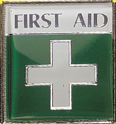 first aider enamel badge
