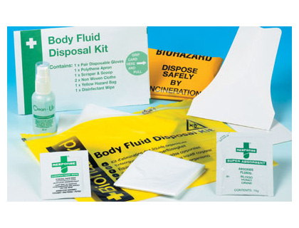 single body fluid disposal kit