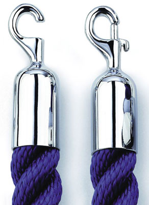 Queue barrier systems - 1500 mm royal blue rope with brass end brass end hook